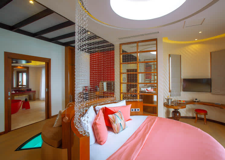 OBLU SELECT at Sangeli   Honeymoon Water Suite with Pool   Bedroom Cross Section