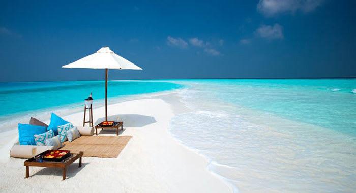Beach lounger and umbrella