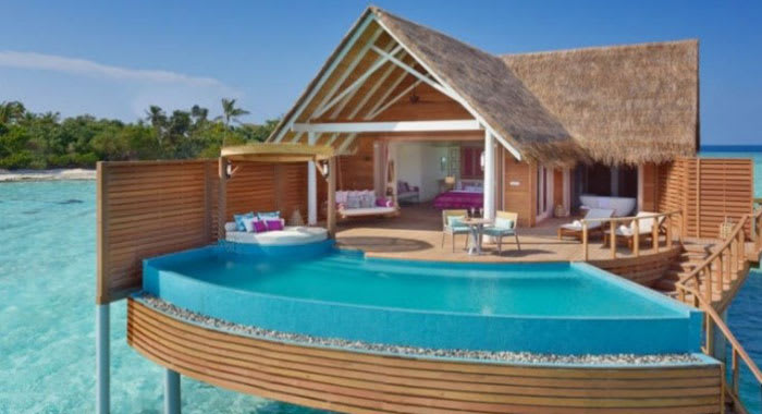 Over water villa with swimming pool