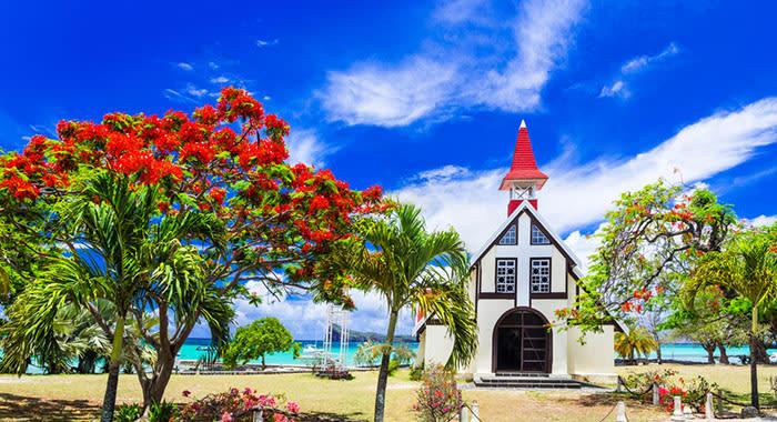 White church on beach in Mauritius