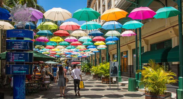 Ceiling of colourful umbrellas