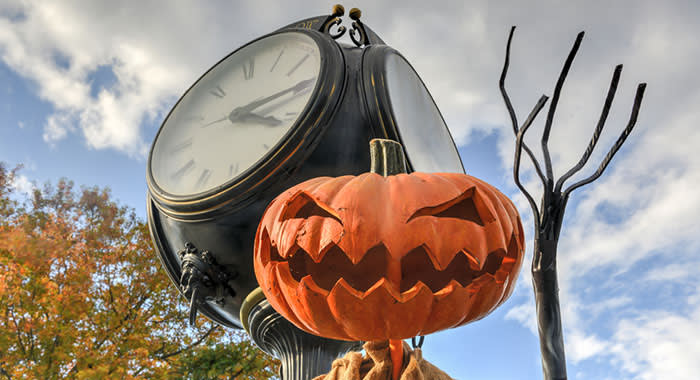 Pumpkin statue in Sleepy Hollow