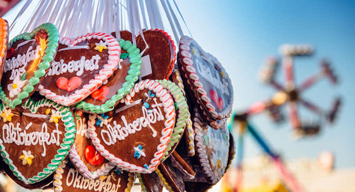Heart shaped ginger biscuits decorated with Oktoberfest writing