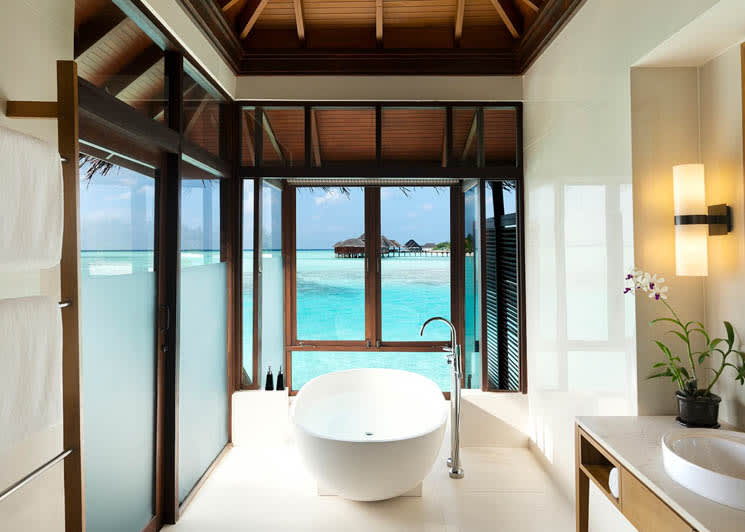 Overwater bungalow bathroom