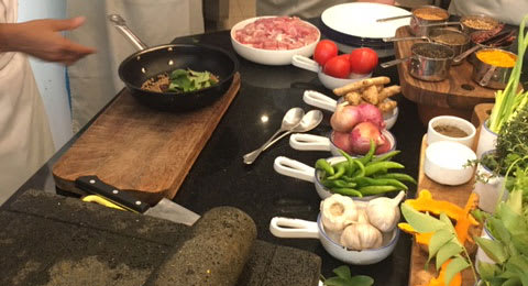 Fresh ingrediants being cooked  for cookery class