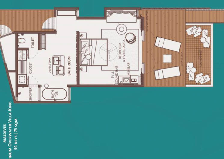 Platinum Overwater Villa king floor plan