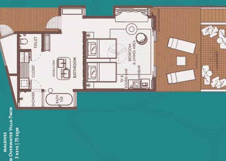 Platinum Overwater Villa twin floor plan