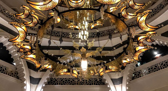 Ornate chandalier in Dubai hotel