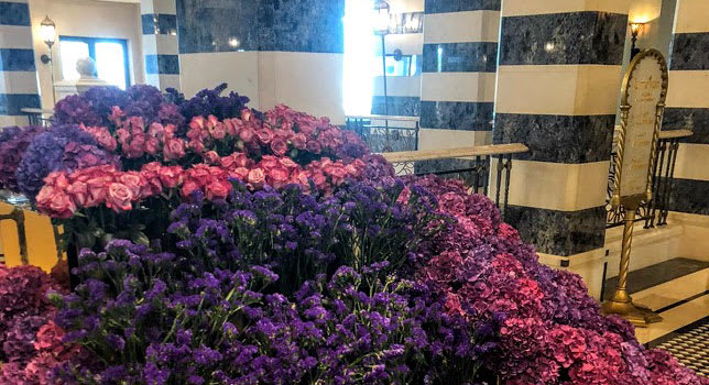 Fresh flowers in Dubai hotel lobby
