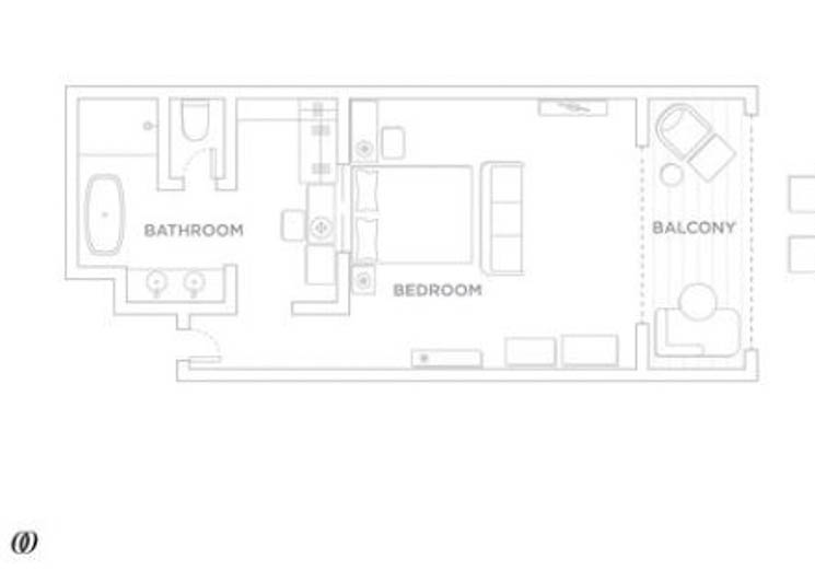 Beachfront room floor plan