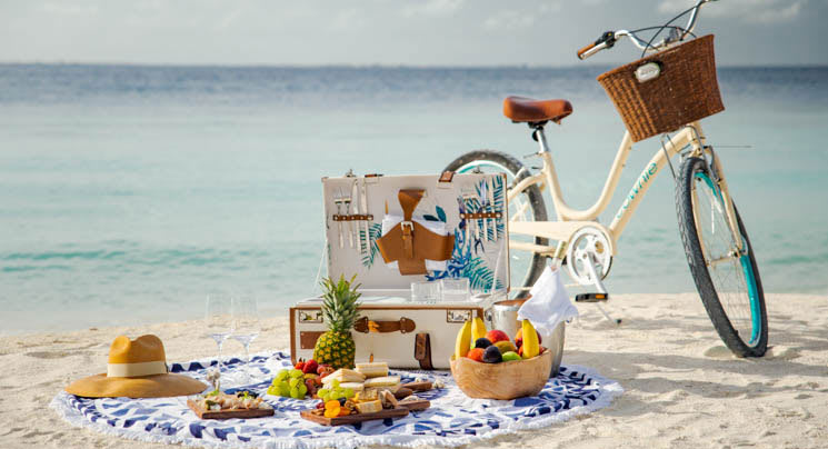 Picnic on the beach using bikes