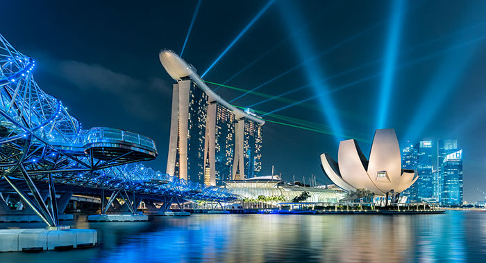 Marina Bay by night lit up