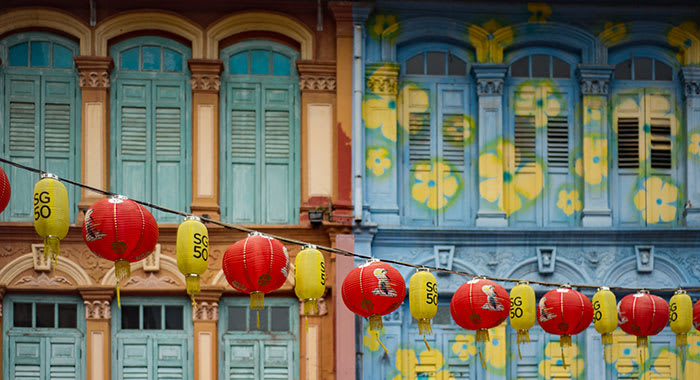 Yellow and red lanterns hung outside building