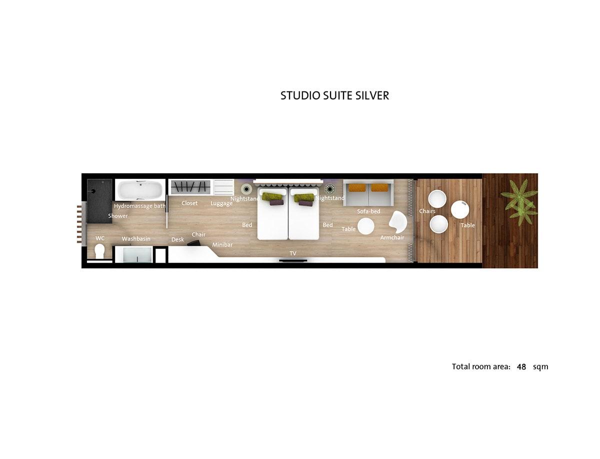 Studio suite silver floorplan