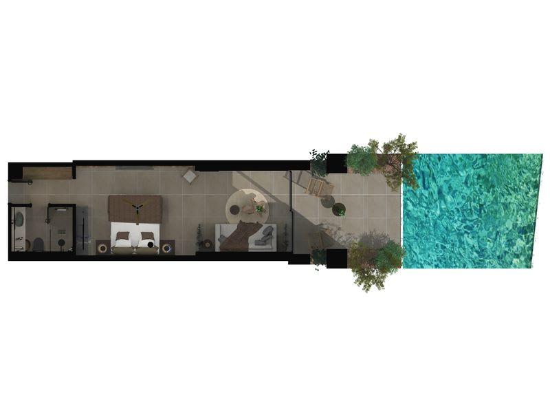 Sapphire Open Plan Suite with Swim Up Pool Swin up floor plan