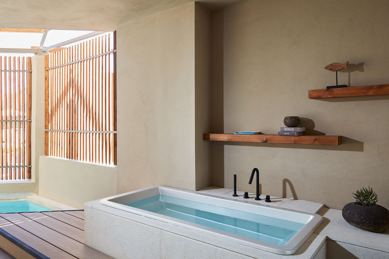 Upbeat Retreat Pool View with Plunge Pool Tub