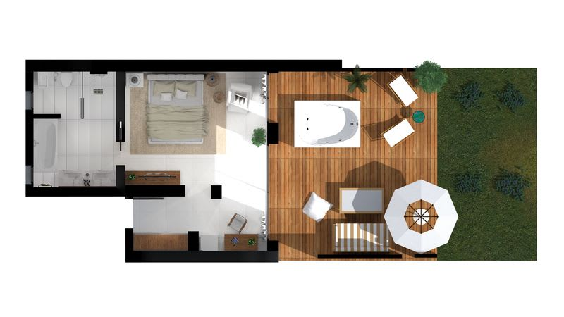 Pavilion Retreat Sea View with Outdoor Jacuzzi Floorplan
