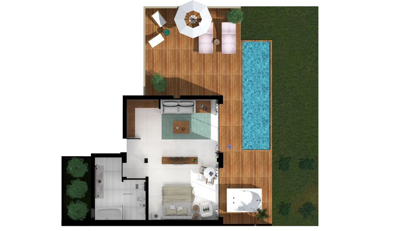 Pavilion Suite Sea View with Jacuzzi and Pool Floorplan small
