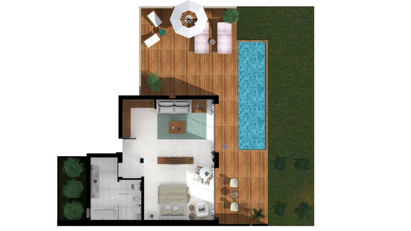 Pavilion Suite Waterfront with Private Pool Floorplan