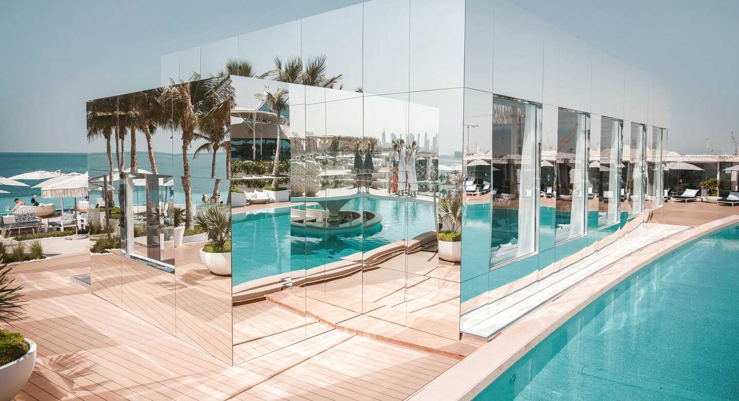 Swimming pool and mirrored walls