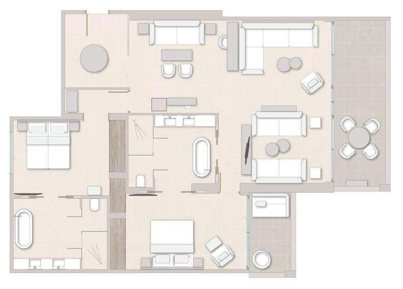 Deluxe Two Bedroom Suite Sea View Floorplan