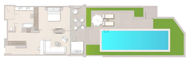 Deluxe One Bedroom Suite Private Pool Floorplan