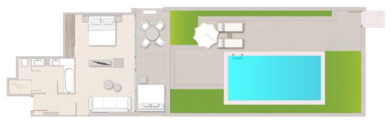 Deluxe Junior Suite Private Pool Sea View Floorplan