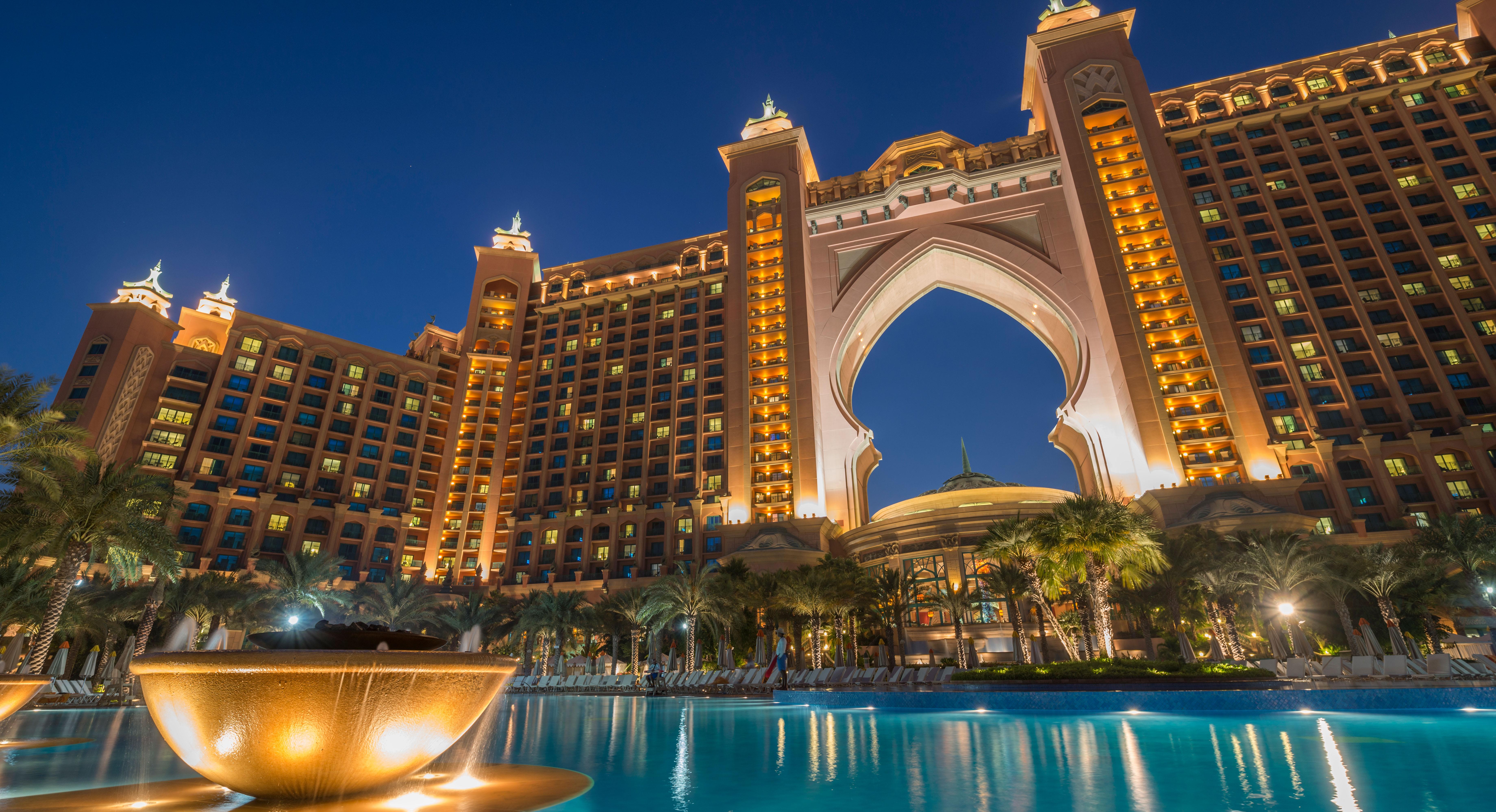 Atlantis the Palm Dubai at night lit up