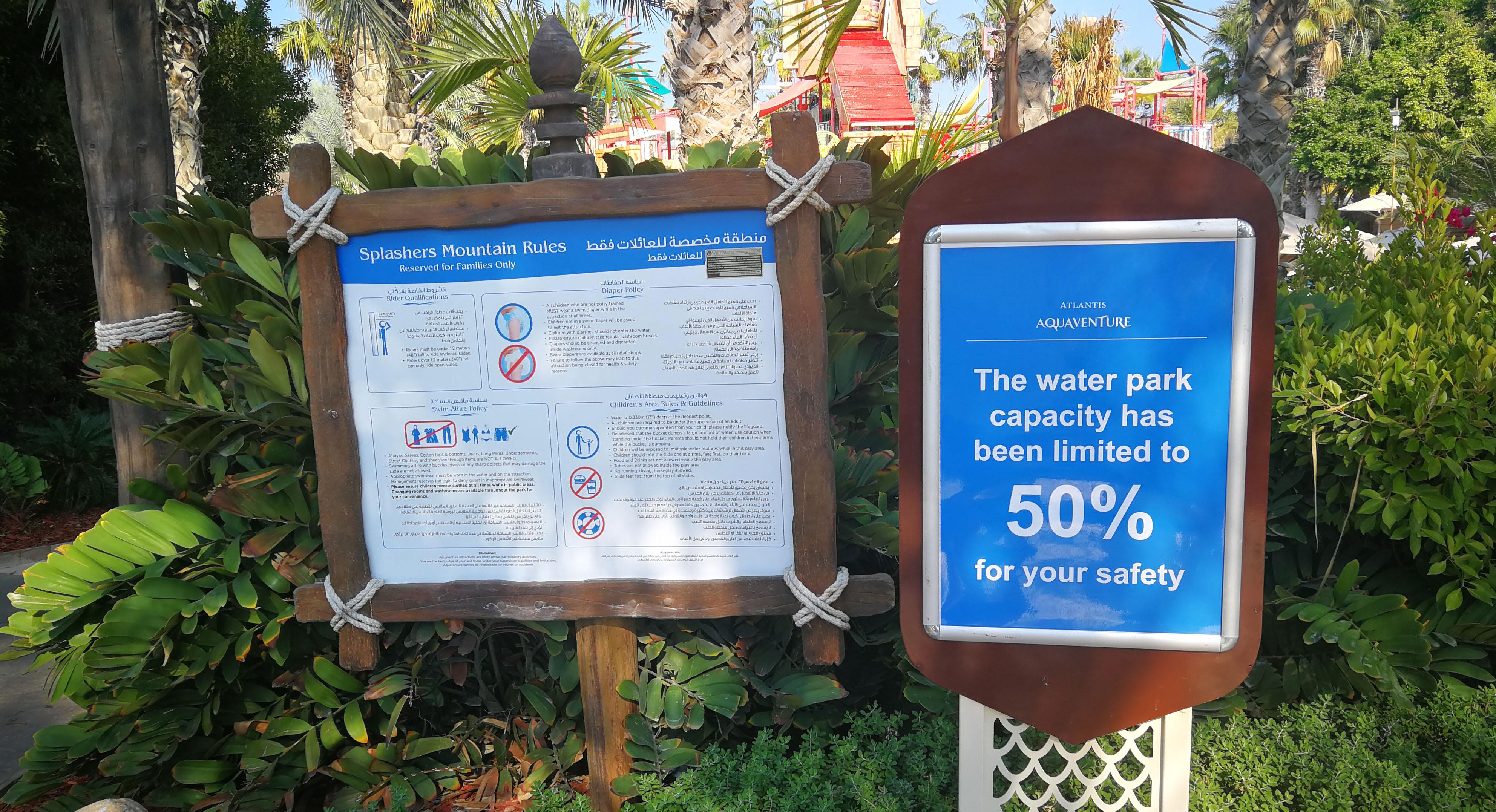 Signage at Aquaventure waterpark