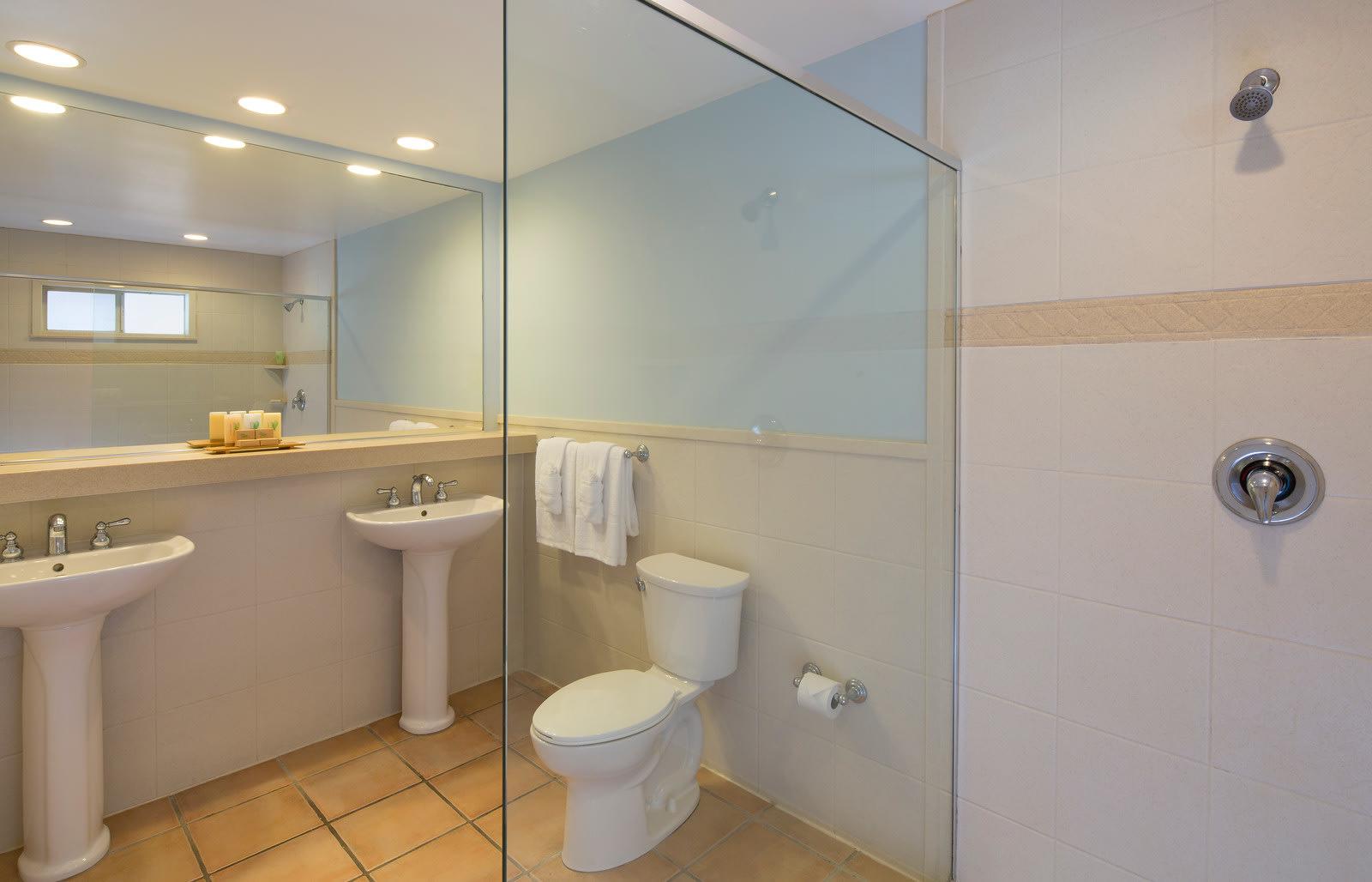 Beachfront room bathroom