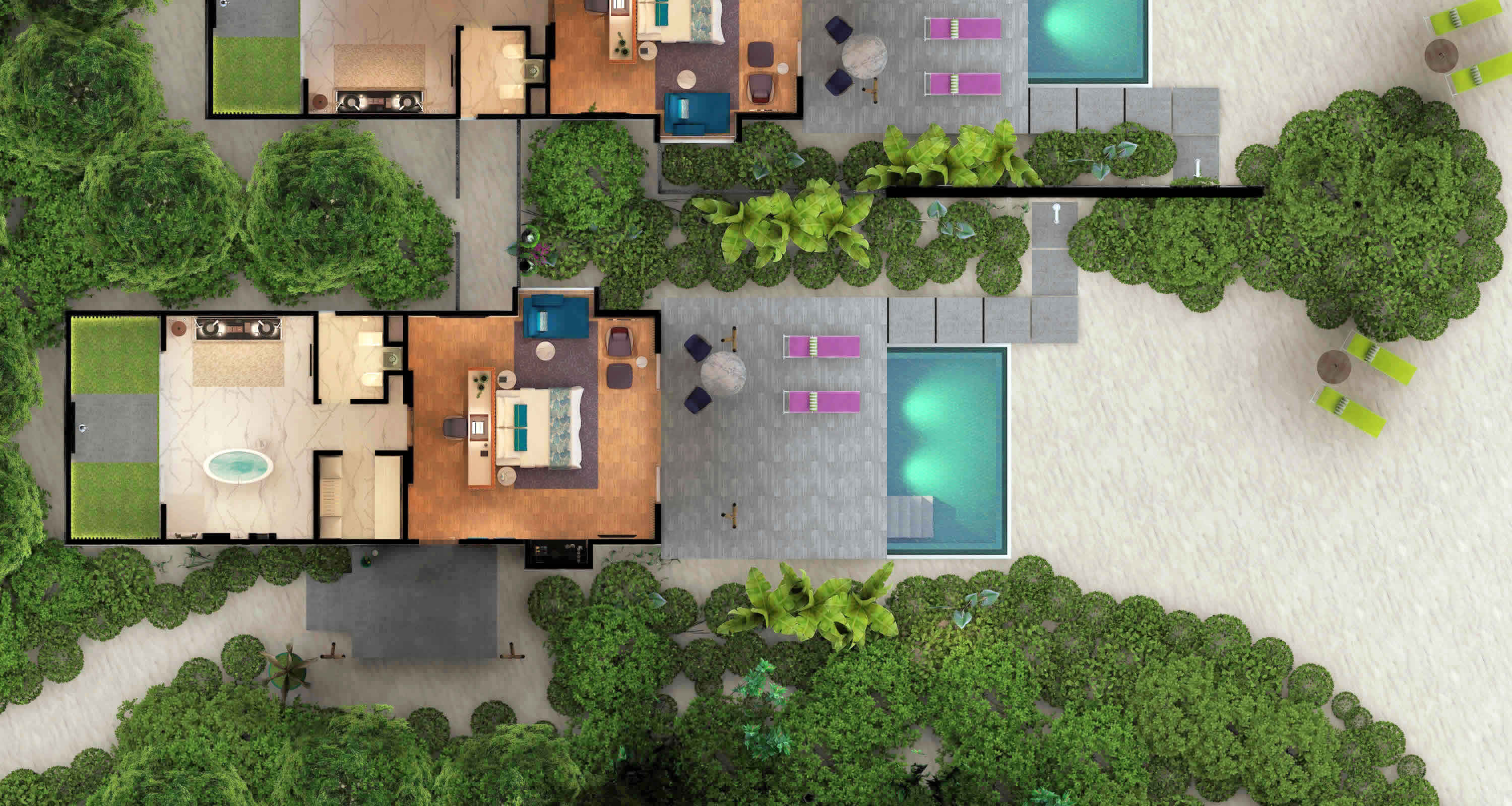 Marine Beach Pool villa plan