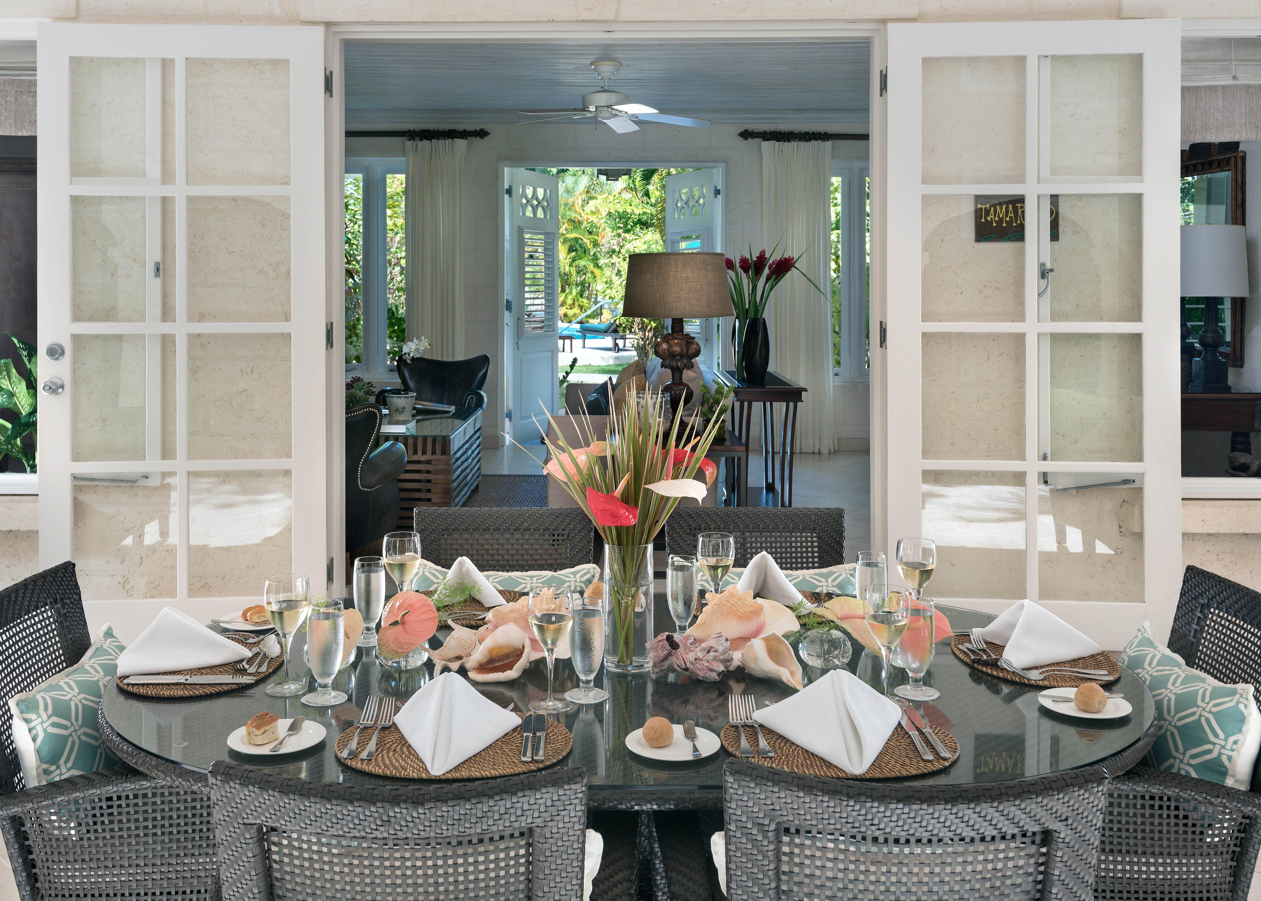 Dining on the patio of Tamarind Villa