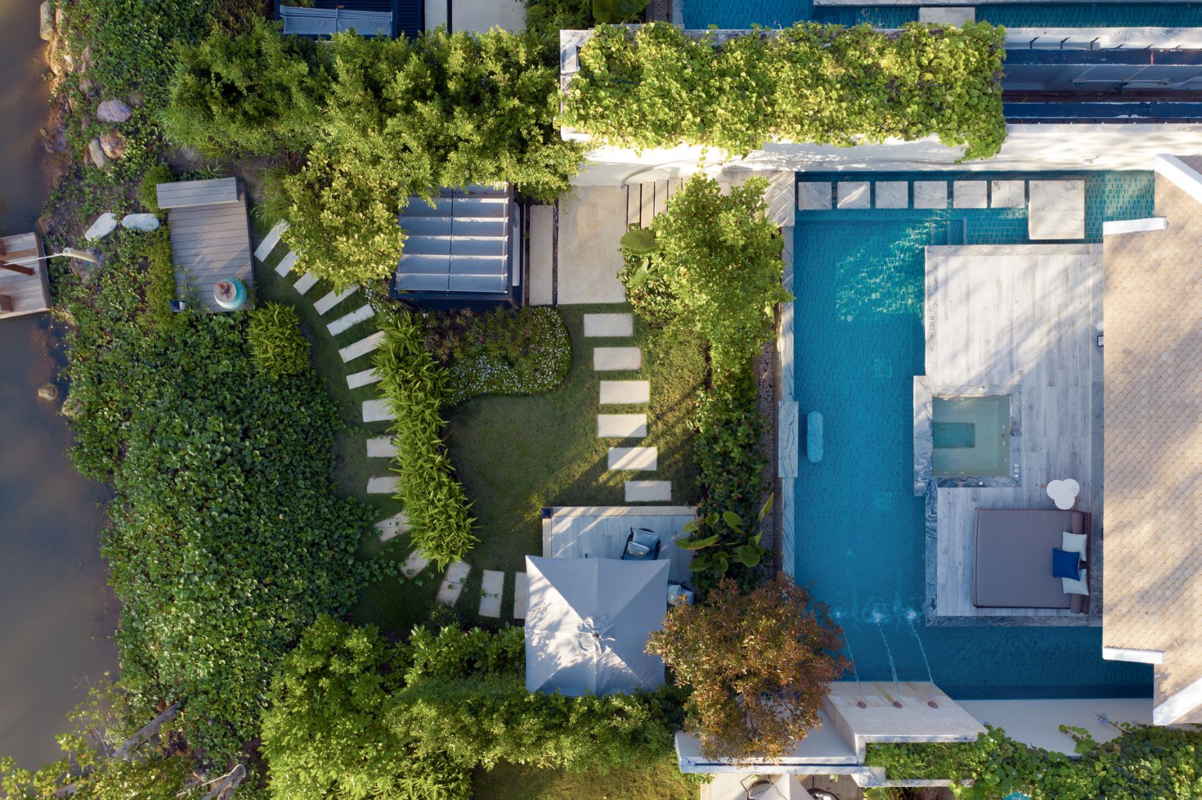 Beachfront Pool Villa Drone