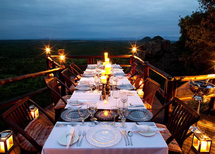 Ulusaba Cliff Lodge Deck Evening