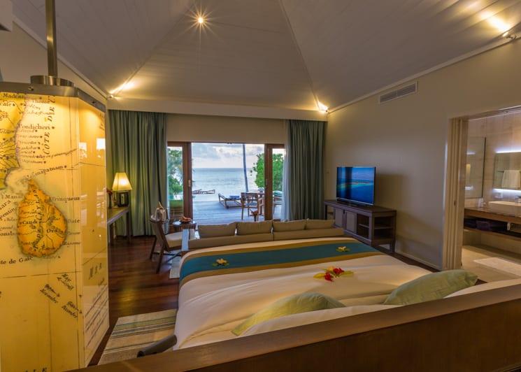 Hurawalhi Maldives Beach Pool Villa Bed View