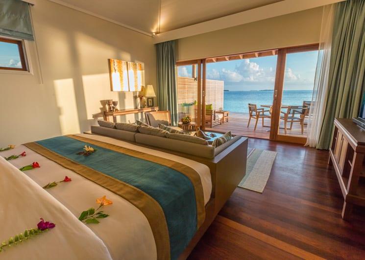 Hurawalhi Maldives Ocean Villa Bed