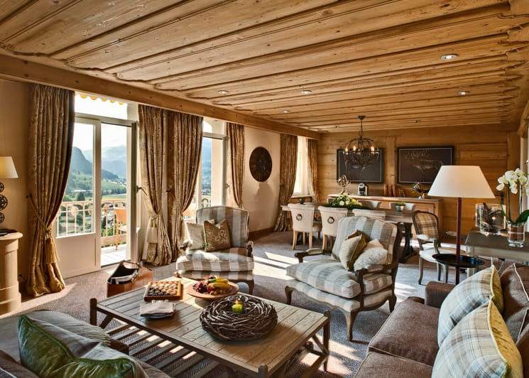 Gstaad Palace Corner Suite Mountain View Lounge