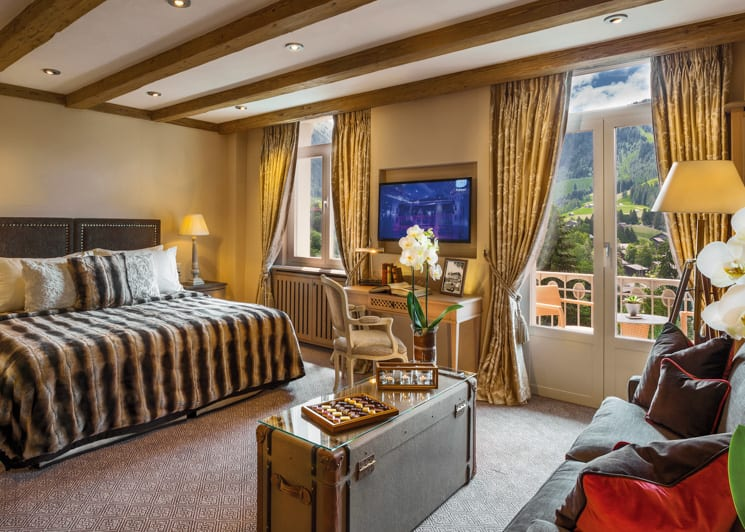Gstaad Palace Corner Suite Mountain View bedroom