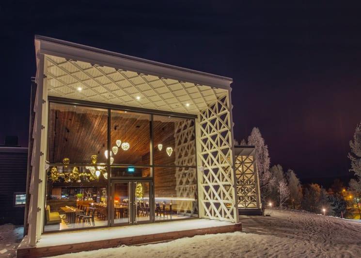 Rakas Restaurant of Arctic TreeHouse Hotel Winter view
