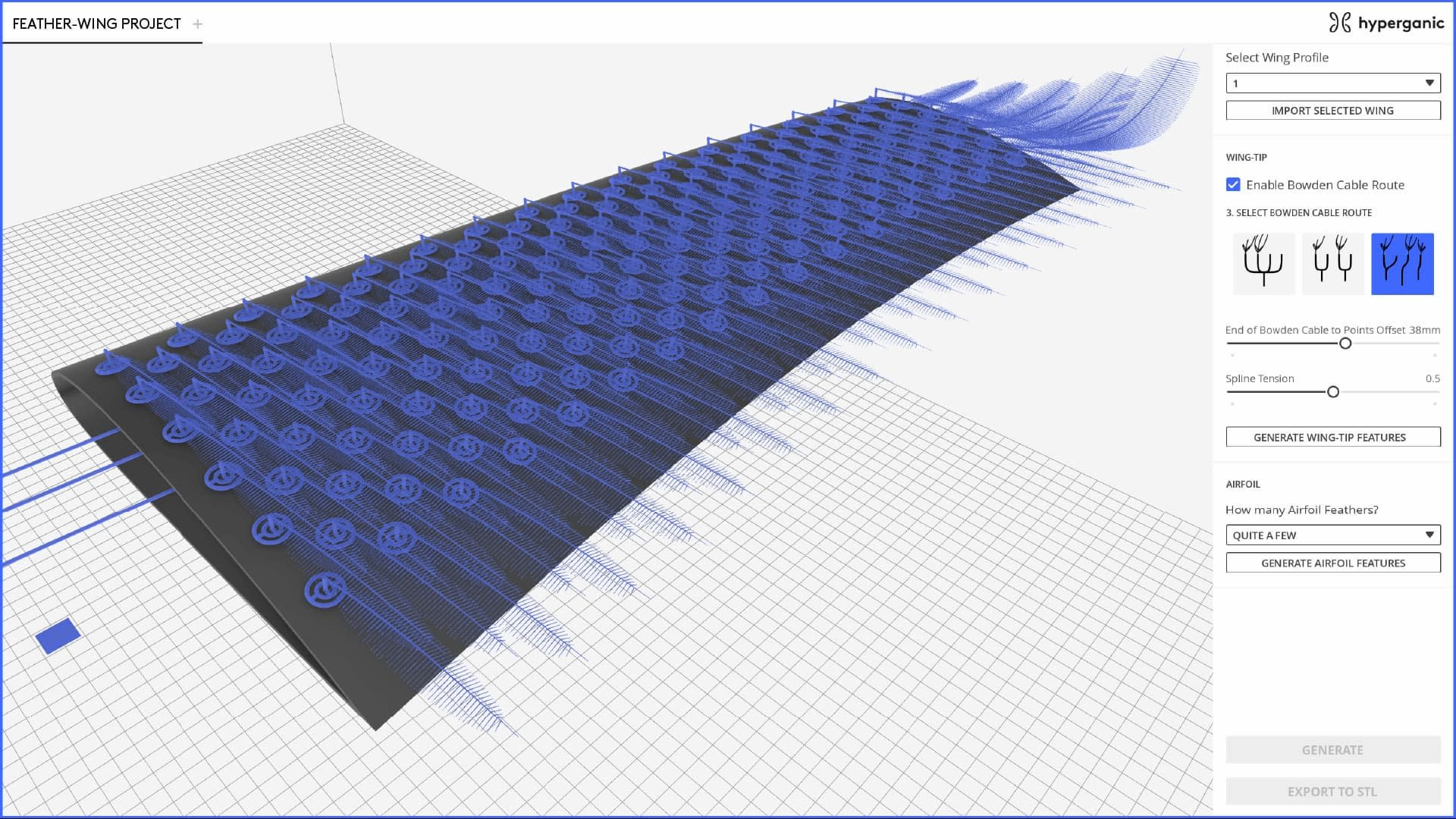 — Research and Development of the Feather-Wing Model, Built Using Hyperganic's Additive Manufacturing Software.