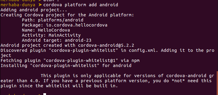 cordova-platform-add-android