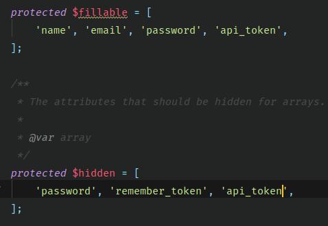 Fillable ve hidden alanlarına api_token eklenmesi