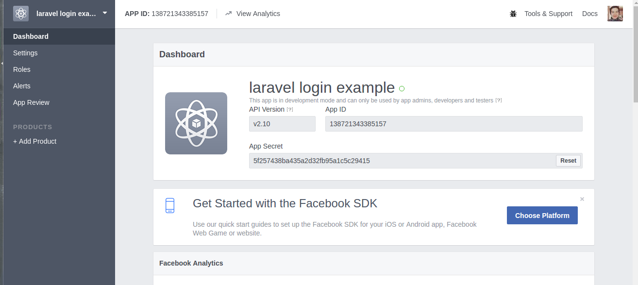 Facebook developer login app