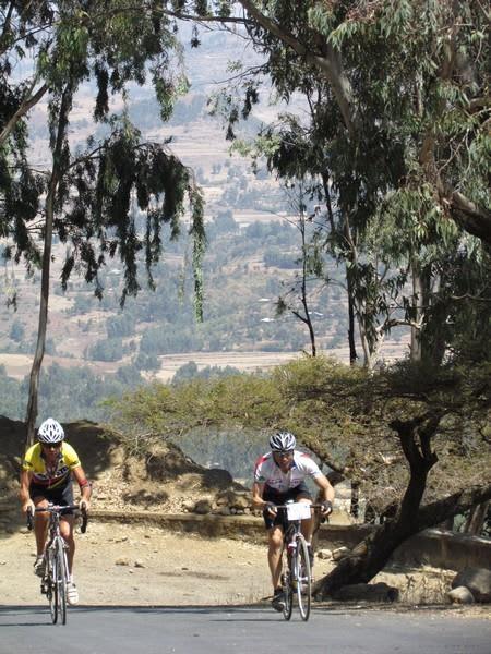2011 Race Winner Paul Wolfe battles Horst Schlenker up the final hill in Gondar Ethiopia