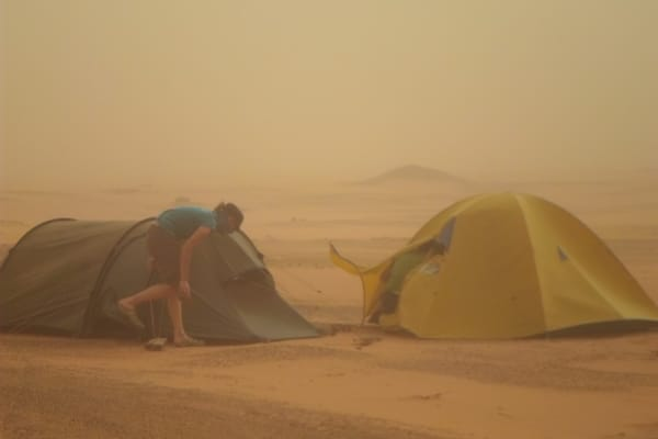 Setting Tents in the wind and sand