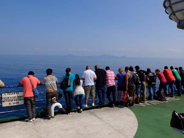 Passangers eagerly await arrival in mainland Mexico