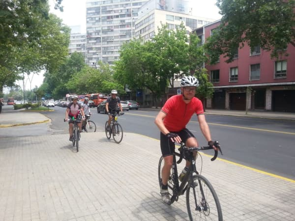 Riders get to the hotel after cruising through the ciclovia