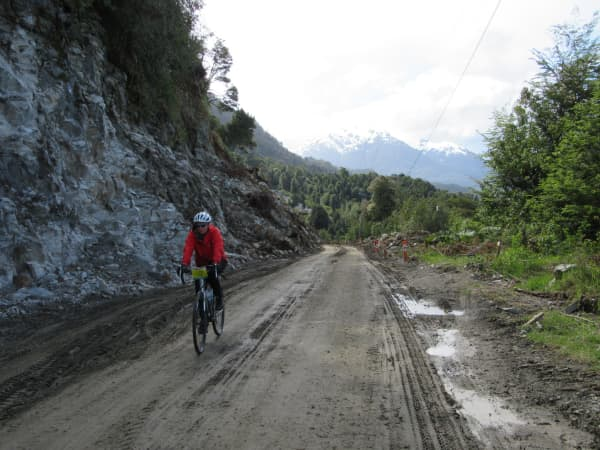 Kaye cruises along the Carretera Austral which is constantly under construction