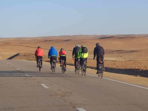 Riders on a tough but scenic day in the Gobi desert