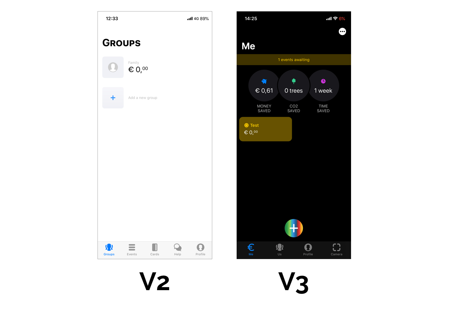 bunq V2 vs. bunq V3 interface